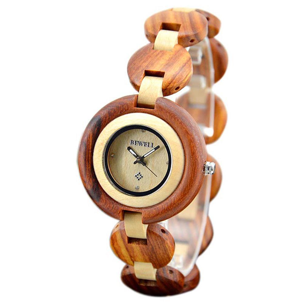 BEWELL Men Female Stylish Bracelet Wooden Watch Fashionable Quartz Wristwatch Ornament Gift все цены