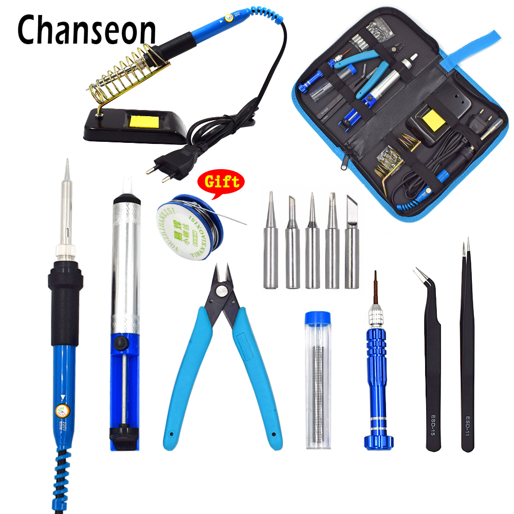 Chanseon New EU/US 60W Adjustable Temperature Electrical Soldering Iron Kit Welding Repair Hand Tool Set With Welding Tools