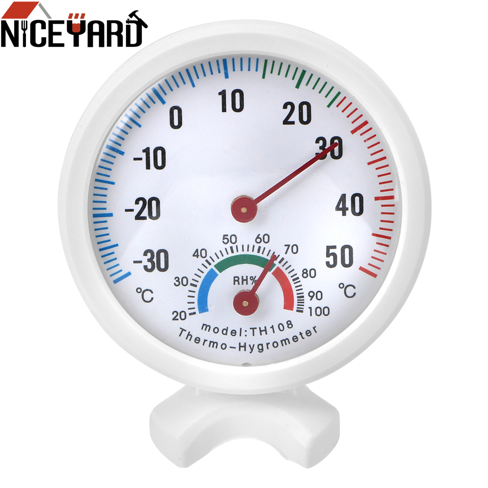NICEYARD 2 in 1 Thermometer Hygrometer Clock-shaped Temperature Humidity Meter Gauge Mini Round Wall-mounted Measuring Tool