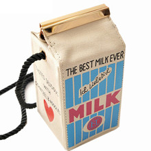 Bag, shoulders letter stereo milk canvas cartoon box cute makeup mini