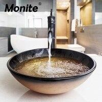 Черный масла столешницей воды комбинированный КРУГЛЫЙ КРАНЫ стока судна Ванная комната раковина смеситель Vanity поток носик