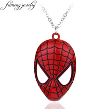 feimeng jewelry Super Hero Spiderman Necklace Superhero Spider-man Mask Pendant Necklace For Men Fashion Accessories