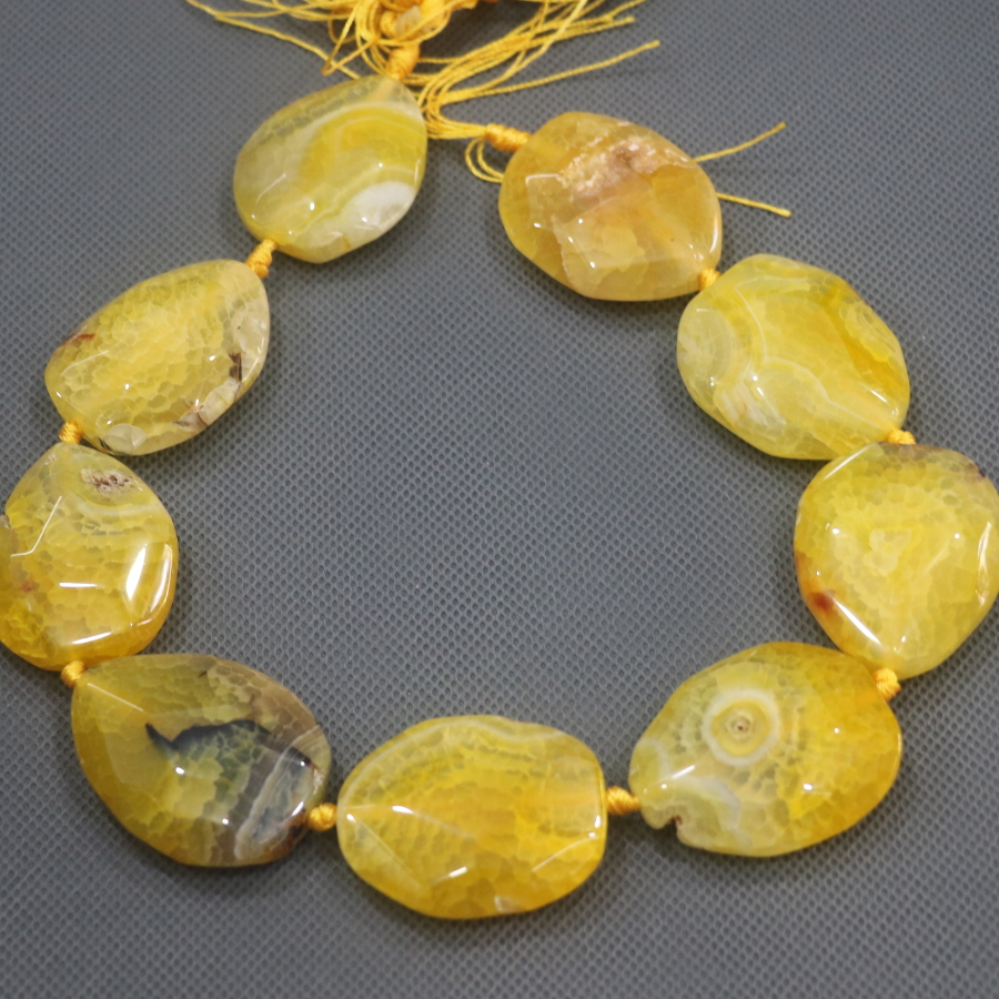 Free Ship 35mm 9pcs Large Stone Slab Slice Beads, Natural Yellow Druzy Faceted Beads Gems Stone Connector Pendant, 15.5'' DIY