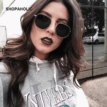 Gafas De Sol redondas De estilo Retro para mujer, diseñador De marca femeninos De anteojos De Sol, con espejo De aleación, con rayo, 2019