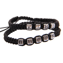Best Price New A Pair Braided Rope Alloy Bracelet Charms Couple Rope Wristband
