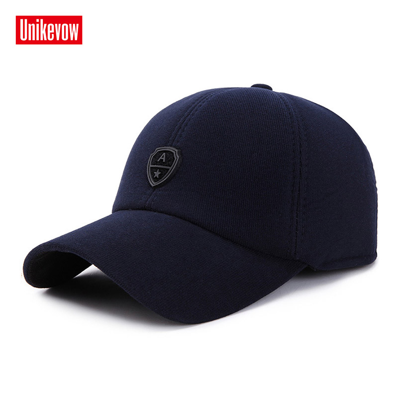 UNIKEVOW New arrivel Corduroy Sport winter   baseball     caps   with ears Casual winter hat warm   caps   for men golf hat for men & women