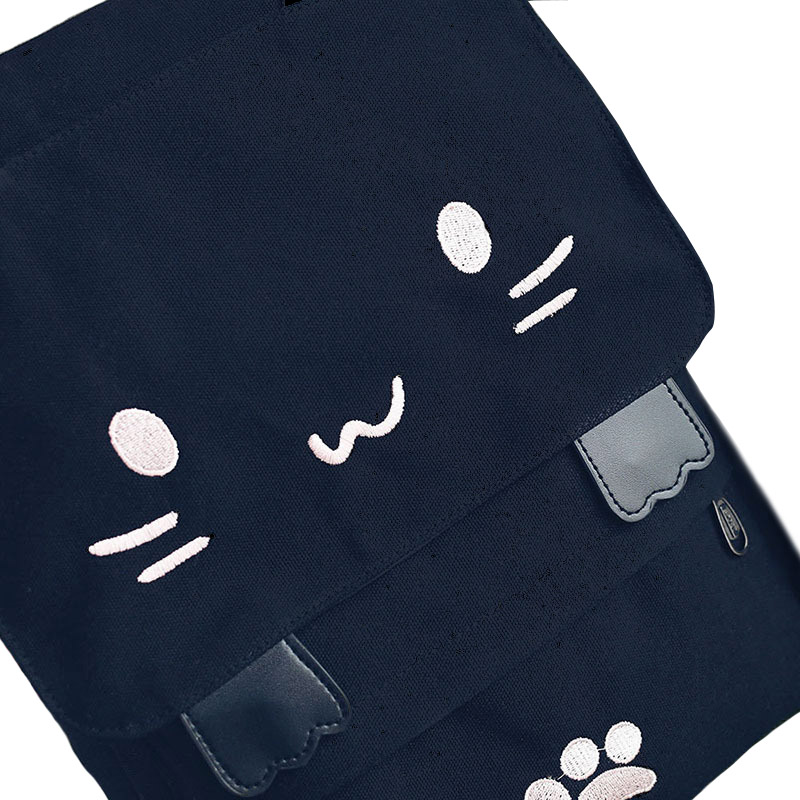 Cute Cat Canvas Backpack Cartoon Embroidery Backpacks For Teenage Girls School Bag Fashio Black Printing Rucksack Mochilas Xa69h #5