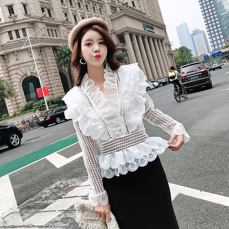 Sweet lace crochet peplum   blouse     shirt   korean fairy hollow out tiered ruffles ladies tops v neck long sleeve elegant office work
