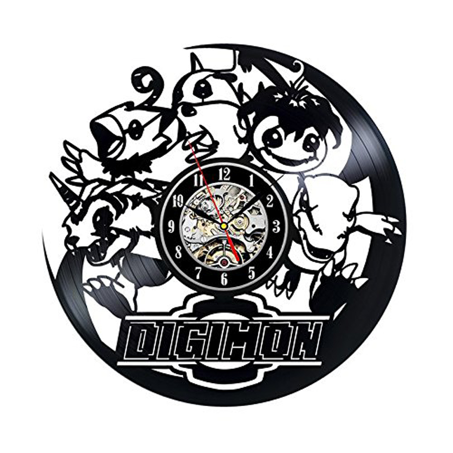 Saat Horloge Murale Digimon Cartoon Game Wall Clock Decorative Study Room Style Cd Record Vinyl Hanging Watch Silent 12 Inch image