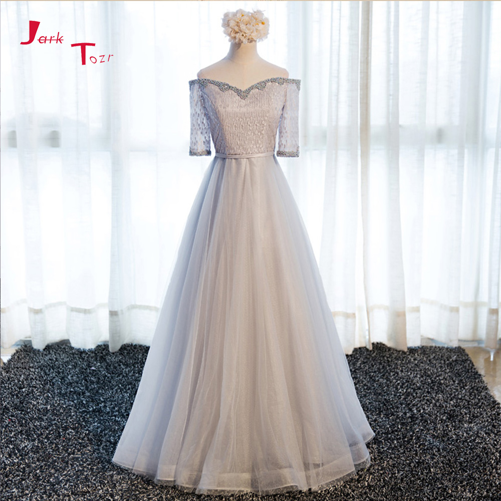 Jark Tozr Custom Made Long Formal Gowns Vestido Longo 2018 Three Quarter Sleeve Beading  ...