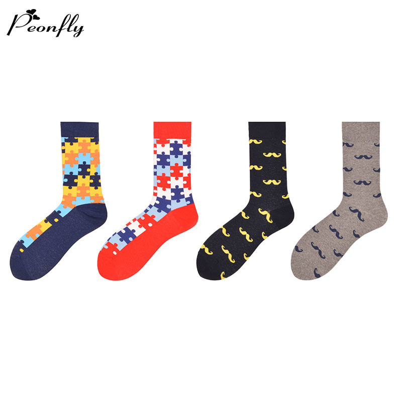 PEONFLYPEONFLY Mens Colorful Pattern Combed Cotton Socks Casual Dress Crew Socks Happy Socks