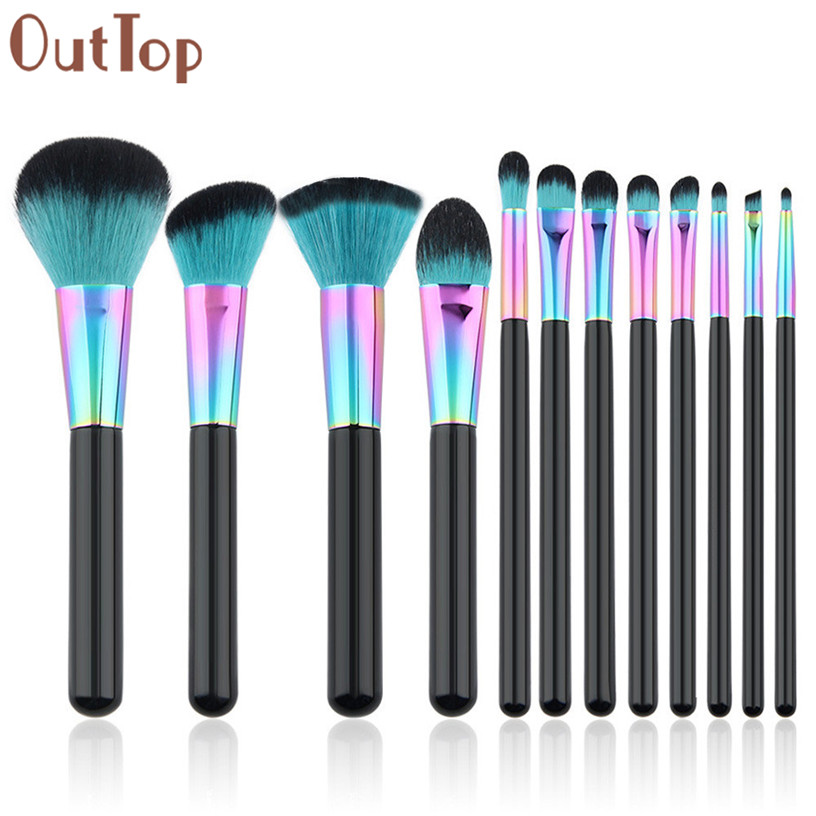 Best Deal New OutTop 12PCS Cosmetic Makeup Brush Foundation Blush Brush Eyeshadow Brushes Beauty Tools outtop best deal new good quality pink colour sponge puff 24 pcs cosmetic makeup brushes foundation brushes tool 1 set