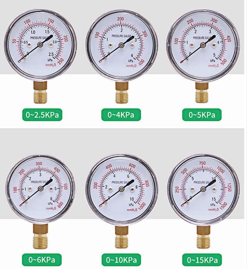 YE-60 Diaphragm Pressure Gauge Water Meter Column Surface Micro Pressure Gauge 5KPA 10KPA 15KPa 20KPa 25KPa 30KPa Gas Meter