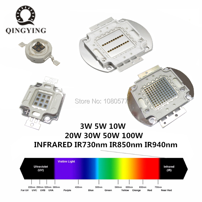 High Power LED Chip IR 940nm 850nm 730nm LED Infrared 1W 3W 5W 10W 20W 30W 50W 100W Emitter Light For Night Vision Camera