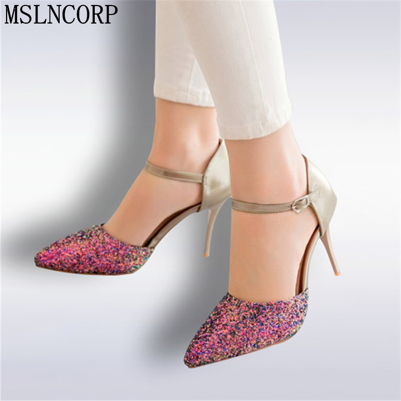 Plus Size 34-48 New Summer Sexy Bling Sandals Pointed Toe Party High Heels Shoes Woman buckle wedding shoes stiletto