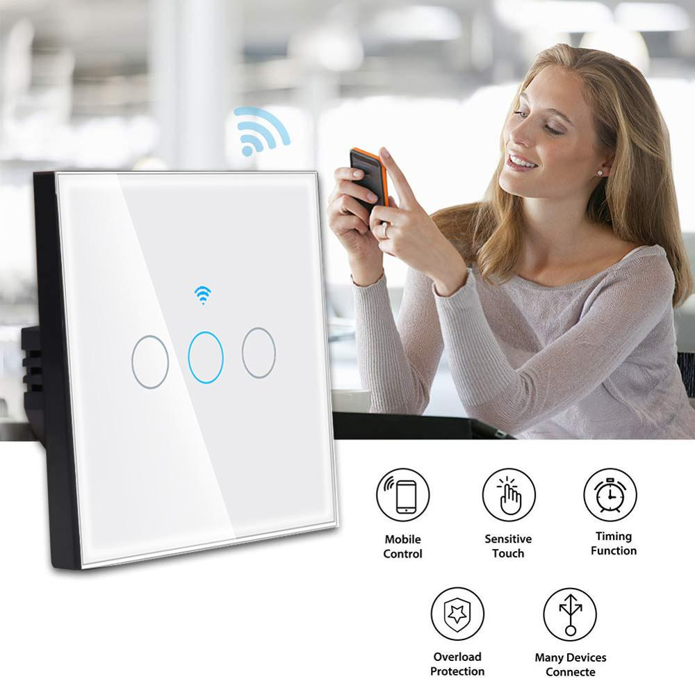 Image 5 - Tuya wifi switch EU 10A Single Fire wire Wall Light Switch smart timer  touch switch Voice Control Compatible Alexa Google IFTTT-in Smart Remote Control from Consumer Electronics