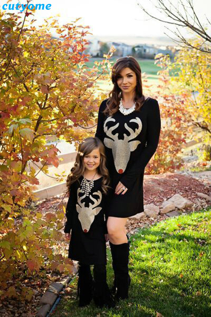 Matching Mother And Daughter Clothes Long Sleeve Dress Christmas Deer Printed Baby Girls Women Dresses Matching Look Outfits (15)