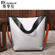 Autumn and Winter new Leather Handbag big bag hit Color Bucket bag Leisure Fashion Leather Shopping bag