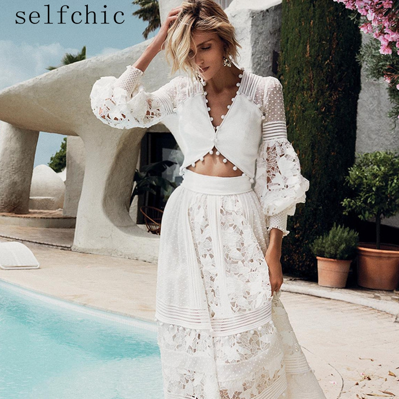 Women White Cropped Tops Designer High Quality Long Sleeve Sexy Blouses 2019