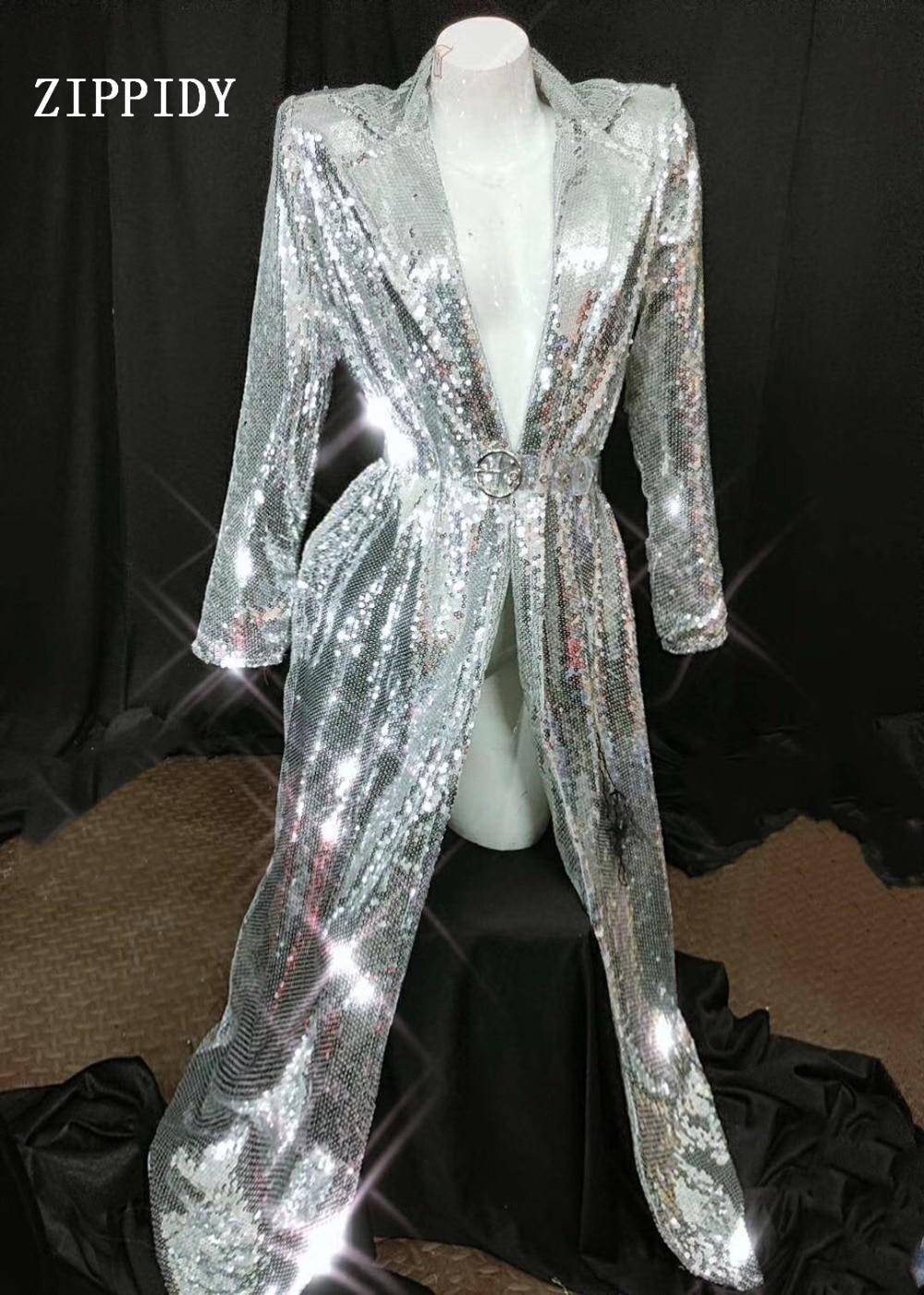 2019 Fashion Women Sequins Coat Female Singer DJ Stage Show Silver Jacket Cloak Strap Ds Performance Costume