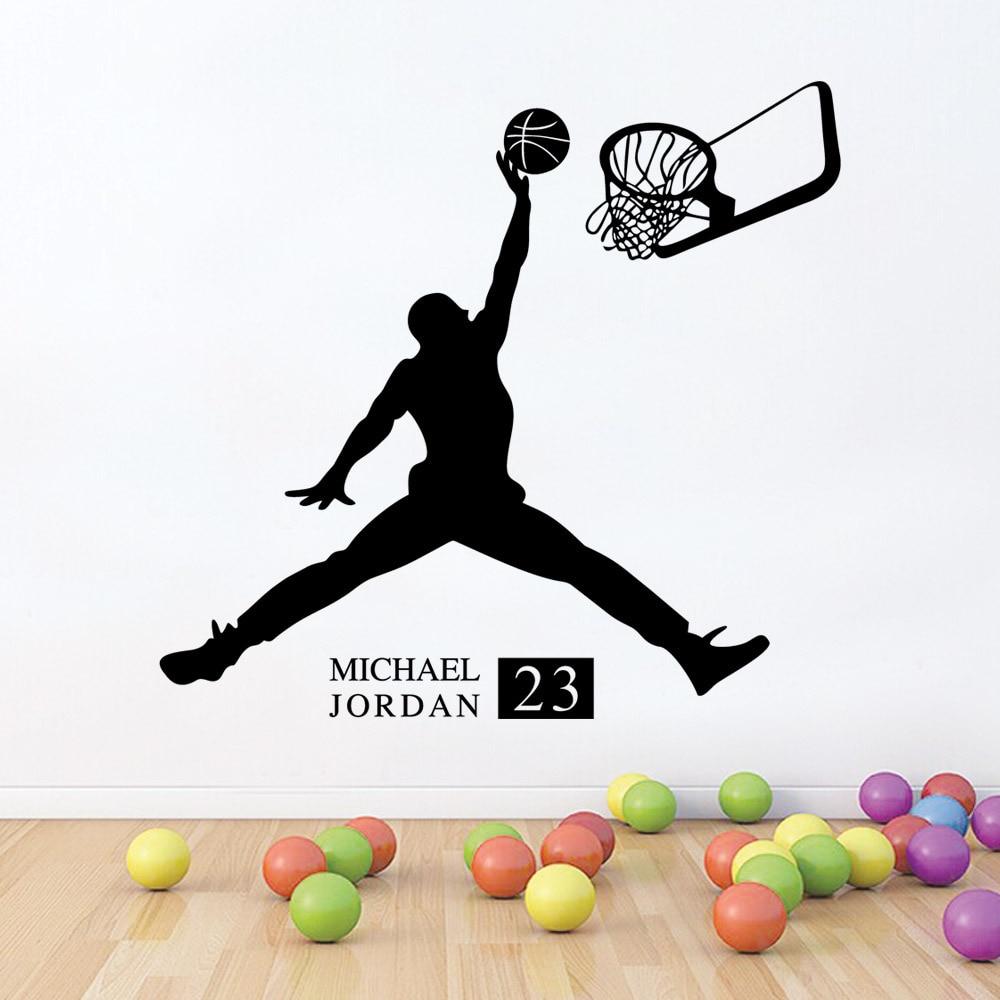 Спортивные наклейки для баскетбола, наклейки на стену входа в гостиную, детскую комнату с экологически чистым и съемным клеем