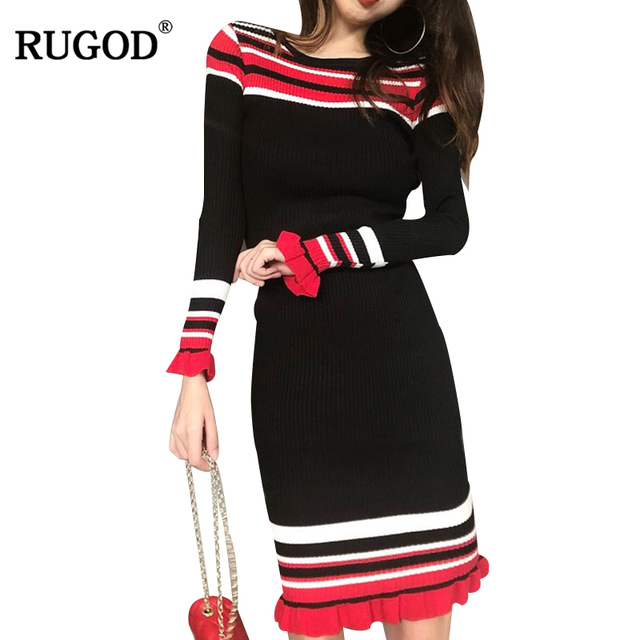 49e2ec68e6 RUGOD Korean Style Striped Knitted Dress Women Fasion High Elastic Long  Flare Sleeve Sweater Dress Autumn