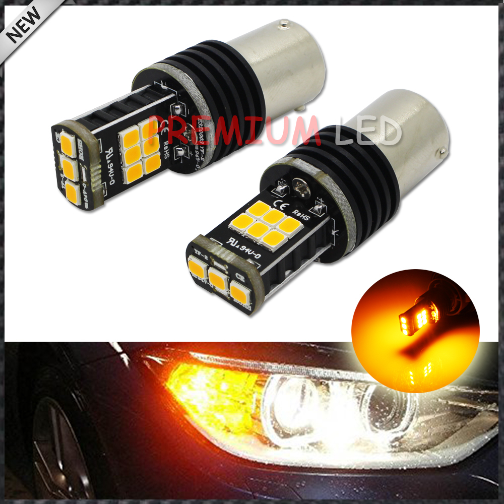 Error Free Amber Yellow 7507 BAU15S PY21W LED Bulbs For BMW 1 2 3 4 5 Series X1 X3 X4 X5, etc Front or Rear Turn Signal Lights 2pcs canbus bau15s py21w error free 1156py amber yellow 36 led 5730smd 7507 bulbs indicator front rear turn signal light