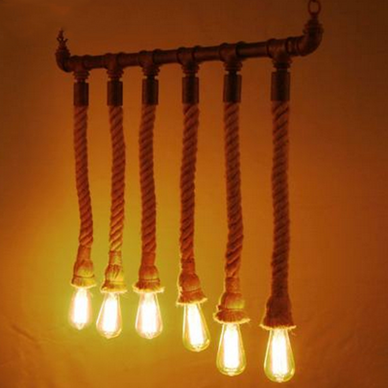 Z American Retro LOFT Water Pipe Rope Chandelier Creative Cafe Clothing Store Industrial Decorative Hang Lamp E27 LED Interface the cafe shop vintage clothing store small chandelier bar loft iron chandelier geometry character