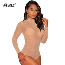 2016 New women Exotic Apparel Sexy 2 Colors Mesh Unlined Mock Neck Bodysuit for Women LC3278 Adult Teddies plus size M L XL