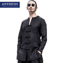 Anthesis eastern style shirt male long-sleeve shirt plate buttons tang suit male fluid spring shirt linen shirt male