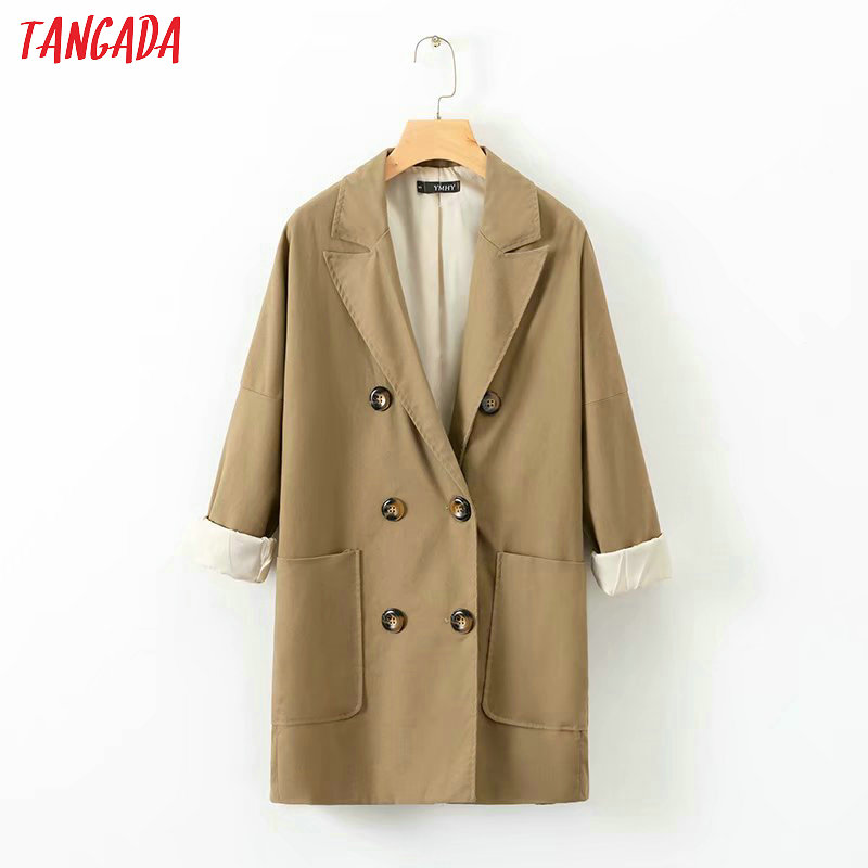 Tangada Fashion Women High Quality Autumn Linen Jackets Button Pocket Turn Down Collar Coat Ladies Loose Streetwear XD442