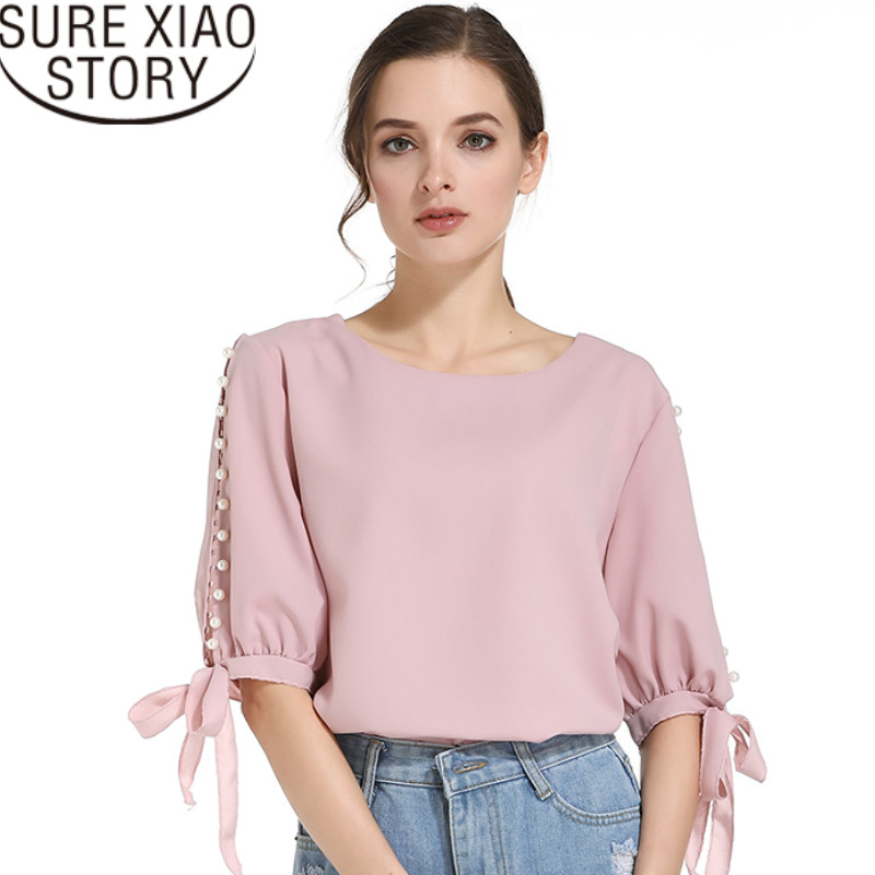 precio competitivo ff0fb 35c21 US $9.71 27% OFF|Blusas mujer de moda 2019 womens tops and blouses white  shirt O Neck Solid Bow Half Chiffon blouse womens clothing 0359 40-in  Blouses ...