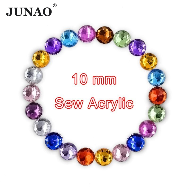 JUNAO 10mm Sewing Flat Back Crystal Rhinestone Round Strass Crystals Sew On Acrylic Stones Gems For DIY Clothes Arts Crafts