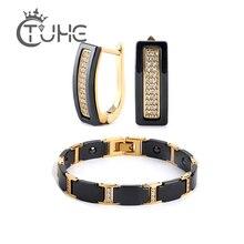 Gold Farbe CZ Kristall Braut Schmuck Sets Afrikanische Perlen Strass Hochzeit Keramik Ohrringe Armband Sets Für Frauen Schmuck Geschenk