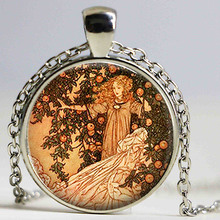Retro Garden of Paradise Fairy Art Pendant Fairy Tale Necklace Sweater Chain 25mm Handmade Glass Cabochon Jewelry Women Kid Gift