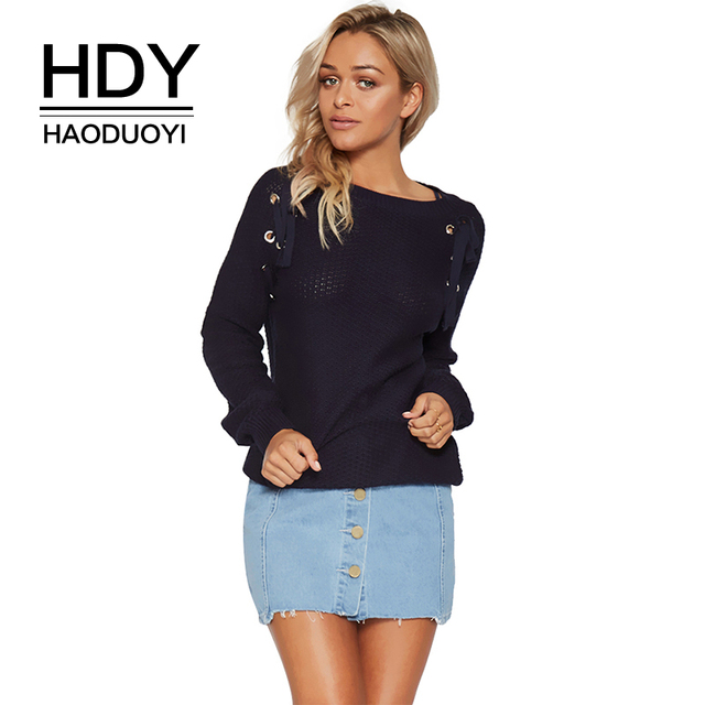 HDY Haoduoyi Autumn Solid Navy Blue Women Sweater Lace-up Drawstring Hollow Out Grommet Lady Tops Loose Casual Female Pullovers