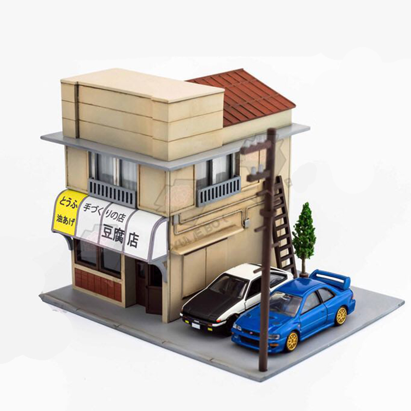 1:64 1Set Initial D Fujiwara Tofu Shop ABS  Model Building Shop For Children Toys Gift Without AE86 Car Model