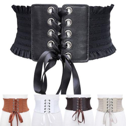 2018 New Women Vintage Wide Bow Belt Faux Leather Dress Elastic Cinch Waistband Slim Belt