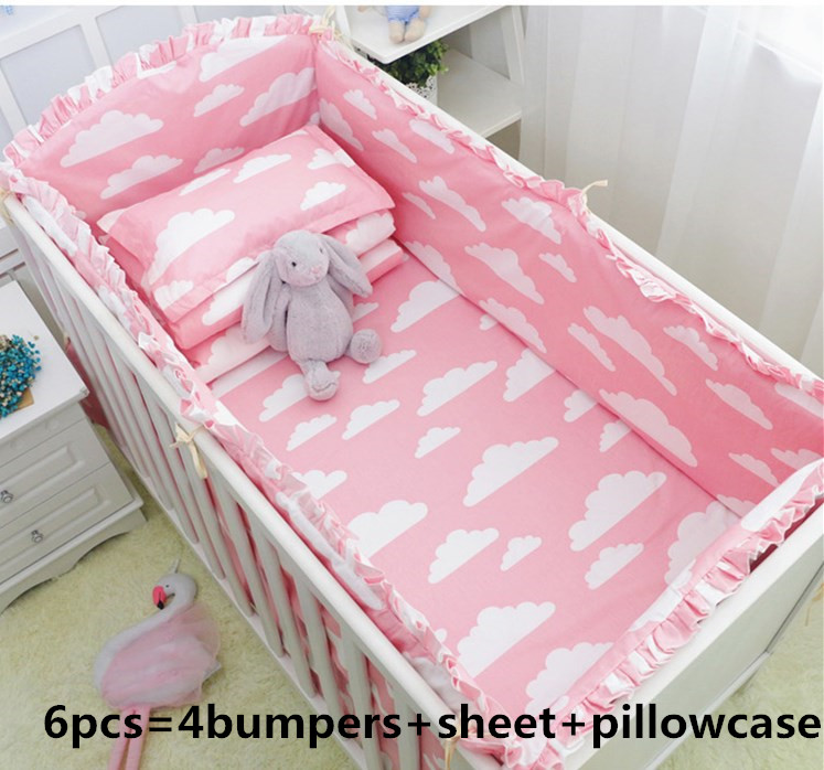 6PCS Pink Cloud Crib Baby Bedding Set Boy Infant Cotton Baby Bed Sheet Protetor De Berco Toddler (4bumper+sheet+pillow Cover)