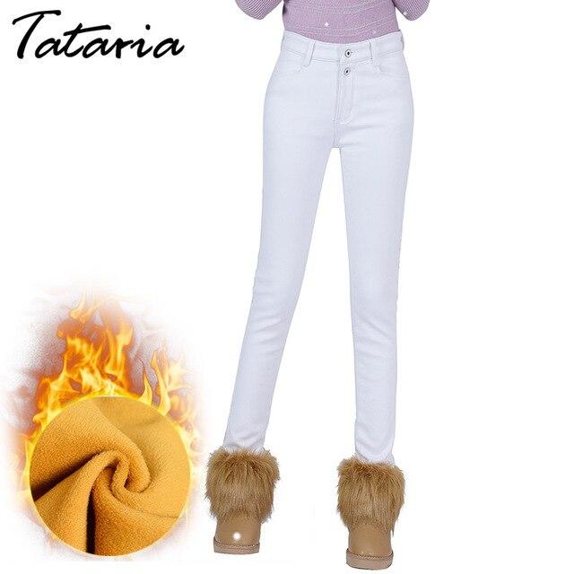 Taille haute Blanc Jeans Femme 2017 Hiver Velours Pantalon Chaud Épais Stretch  Jean Slim Femme Maigre a60016a7ba7