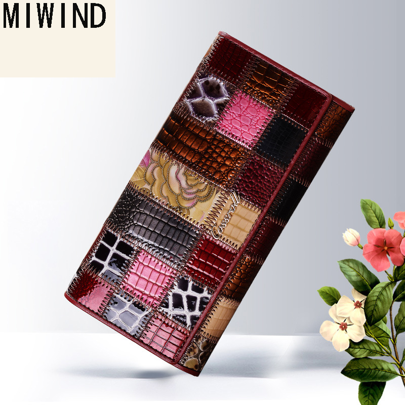 2017 New Genuine Leather Women Wallets Patchwork Coin Pocket Cow Leather Luxury Brand Card Holders Wallet Purse Clutch Bag T1140 new arrival famous sexy women cow leather wallet 2017 short real leather wallets card holders clutch bag genuine leather purse