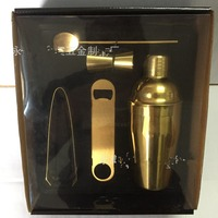 [ Fly Eagle ] 520/set 600ml Cocktail Shaker Stainless Steel Mixer Drink 5Pcs Plated Gold