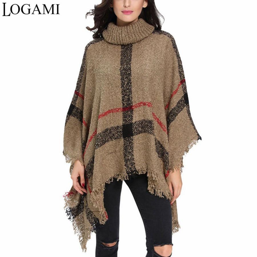 LOGAMI Poncho Stil Mantel Herbst Winter Strick Poncho Rollkragen Frauen Lange Ponchos Und Capes Pullover Pullover Pull Femme