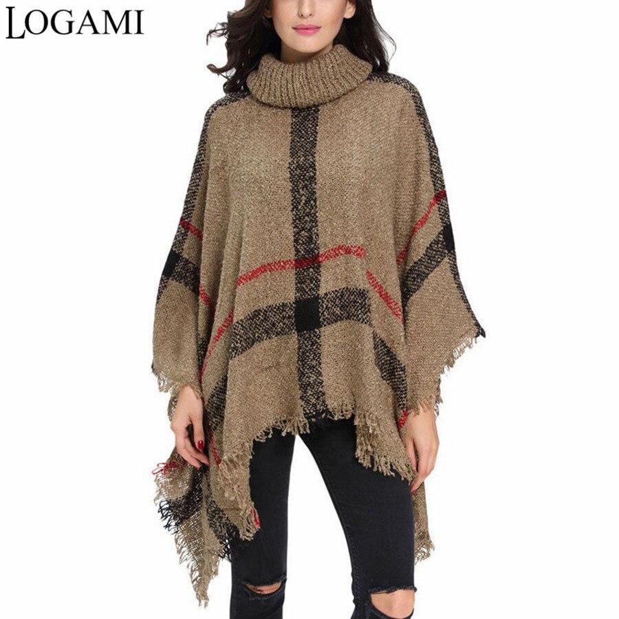 Poncho de lana estilo abrigo Otoño Invierno Poncho tejido cuello alto mujeres Ponchos largos y capas suéter jerseys Pull Femme