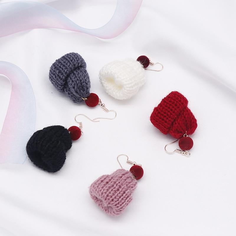 Cute girl knitting wool hat earrings Plush Christmas ball long earrings Mini Red Riding Hood Ear clip