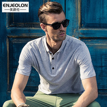 Enjeolon brand 2017 new Mens casual short sleeve polo Shirts solid black plus size 3XL Clothing Tops Tee free shipping T1649
