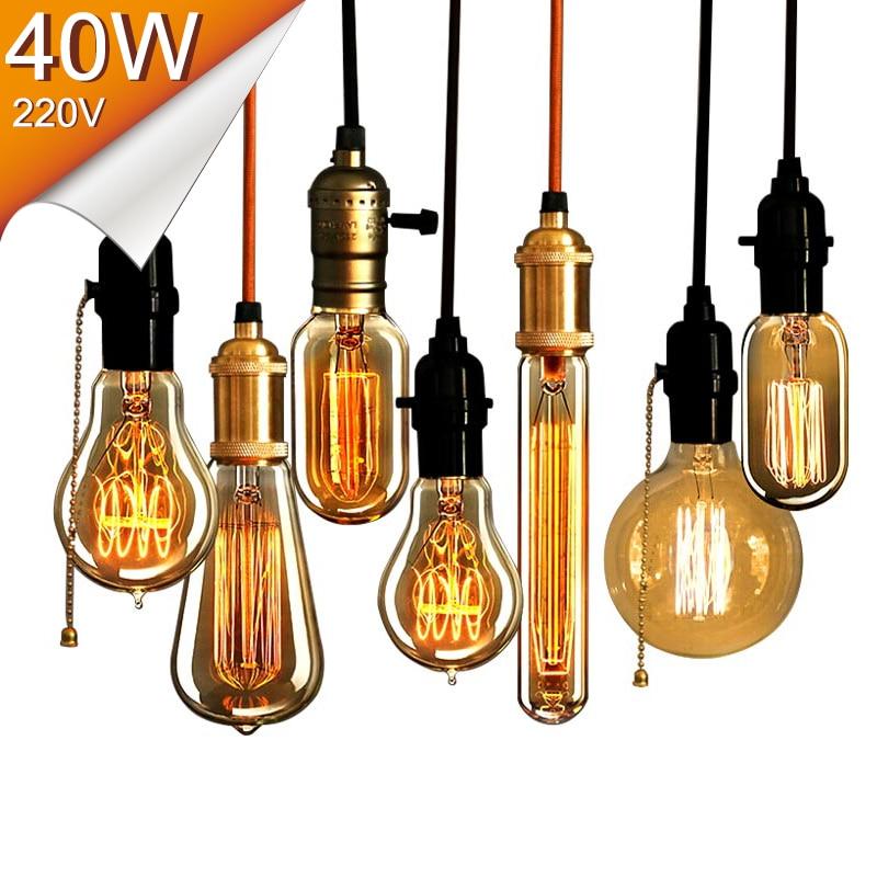 antique retro vintage edison light bulbs e27 40w 220v light bulbs tungsten lamps decor light - Decorative Light Bulbs