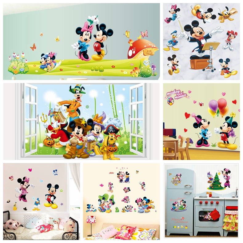 Mickey Mouse Minnie Mouse Wall Sticker Children Room Nursery Decoration Diy  Adhesive Mural Removable Vinyl Wallpaper ... Part 90