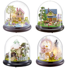 Cute Room DIY Miniature Doll House Model With 3D LED Furniture Wooden DollHouse Handmade Toys Gifts For Children #E(China)