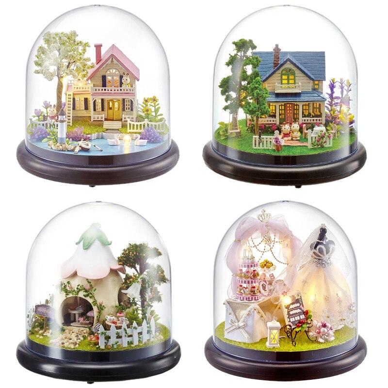 Mignon Chambre DIY Miniature Maison de Poupée Modèle Avec 3D LED Meubles En Bois DollHouse Jouets Faits À La Main Cadeaux Pour Enfants # E